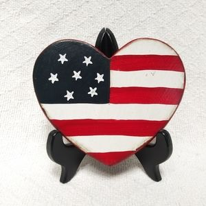 Other - Wooden American Flag Heart Wall Hanging Decor